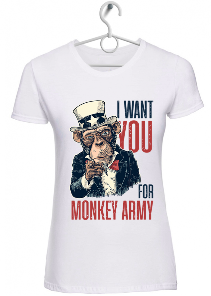 "T-shirt donna ""i want you"" bianca"