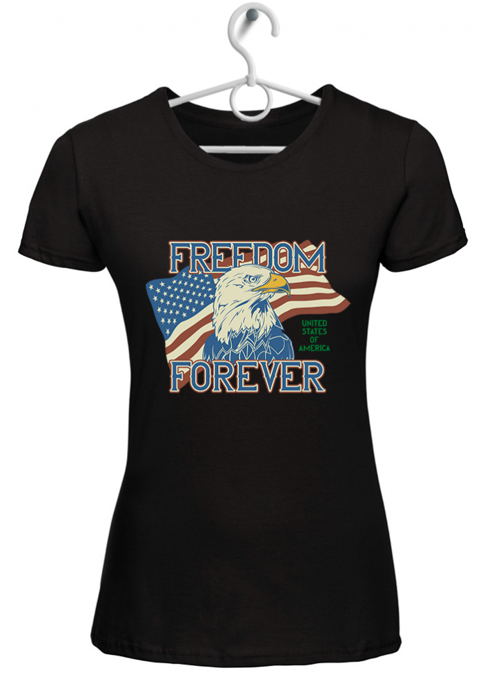 "T-shirt donna ""freedom forever"" nera"