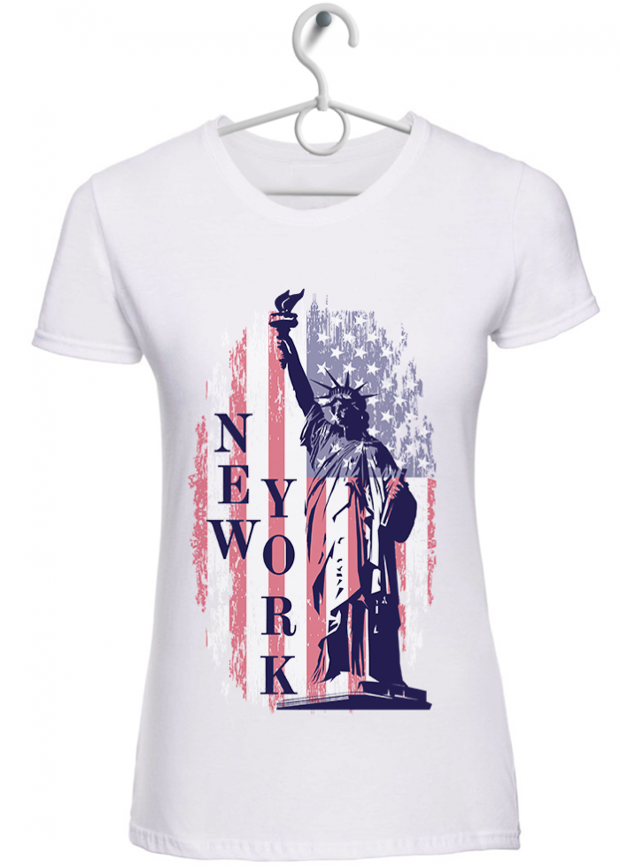 "T-shirt donna ""New York"" bianca"