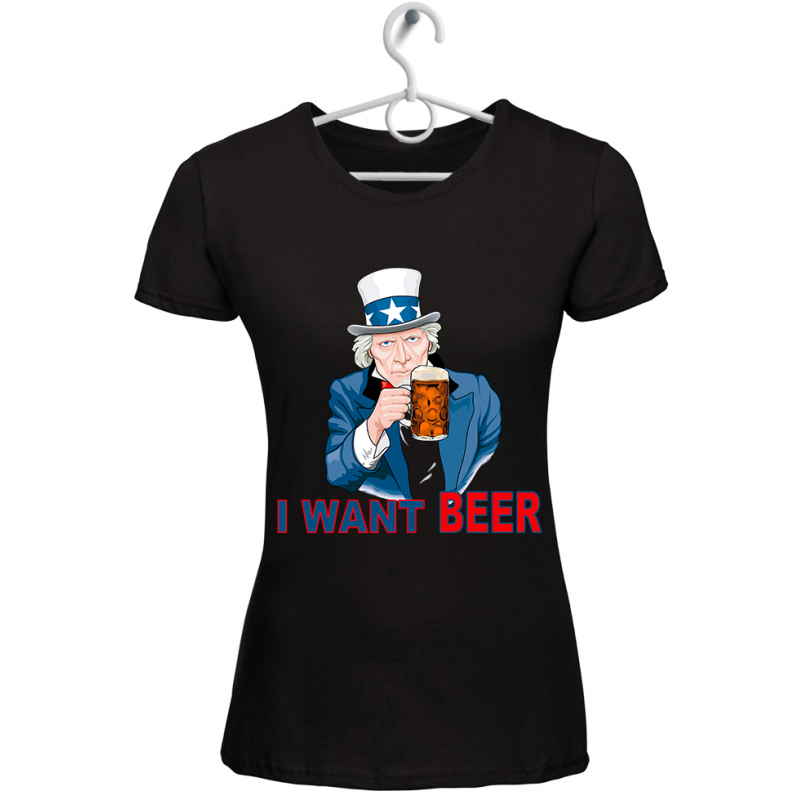 "T-shirt donna ""i want beer"" nera"