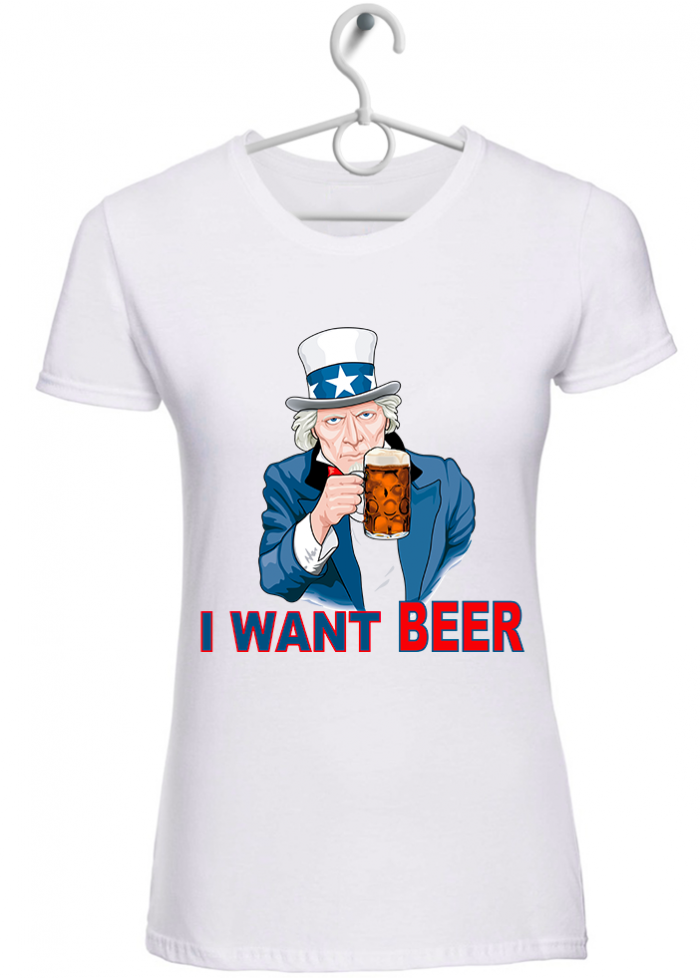 "T-shirt donna ""i want beer"" bianca"