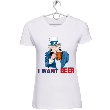 """T-shirt donna """"i want beer"""" bianca"""