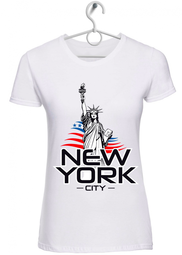 "T-shirt donna ""New York City"" bianca"