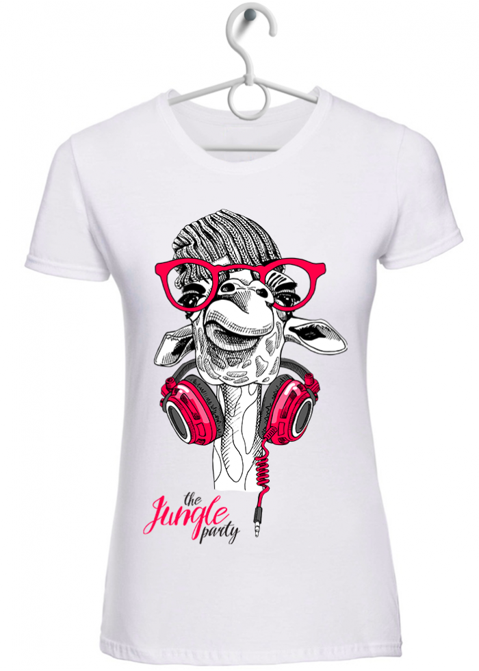 "T-shirt donna ""the jungle party"" bianca"