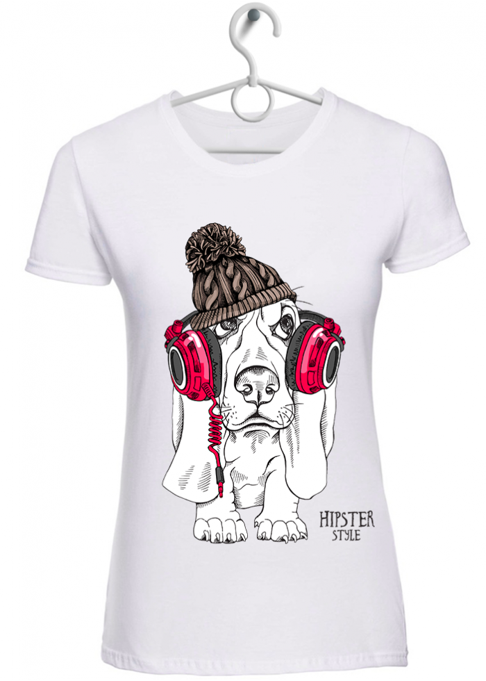 "T-shirt donna ""hipster style"" bianca"
