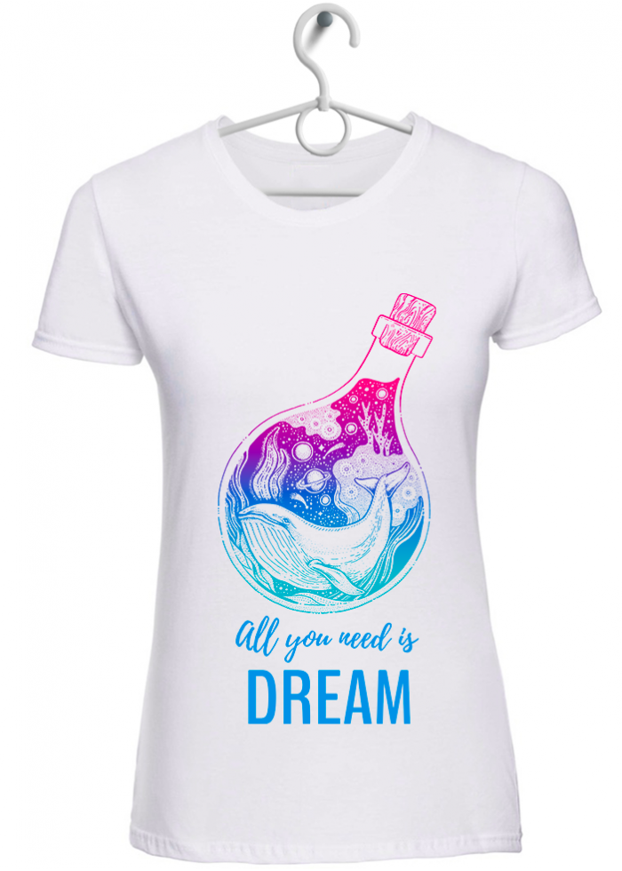 "T-shirt donna ""dream"" bianca"