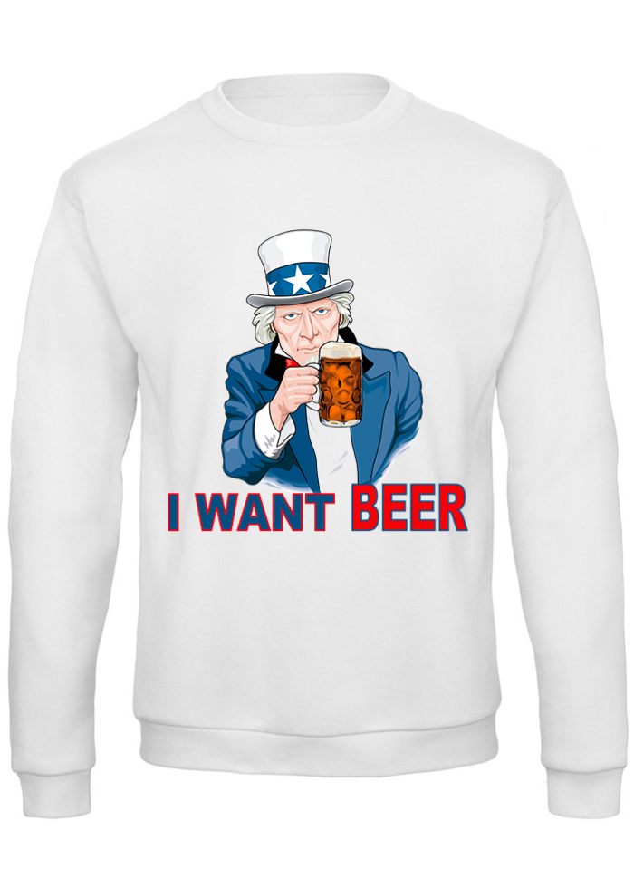 "Felpa uomo ""i want beer"""