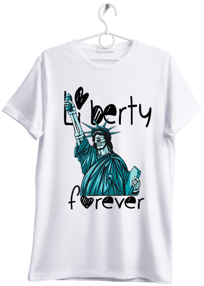 "T-shirt uomo ""liberty forever"" bianco"