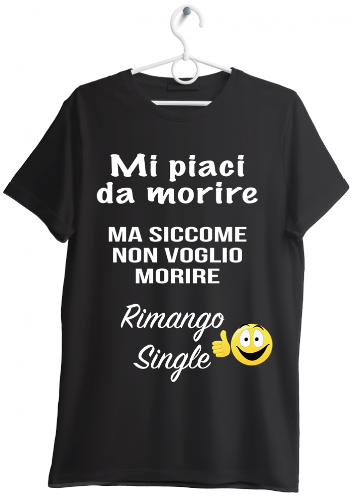 "T-shirt uomo ""rimango single"" nero"