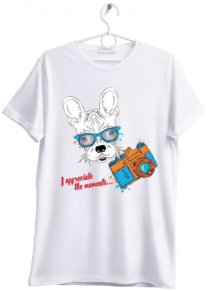 "T-shirt uomo ""little dog selfie"" bianco"