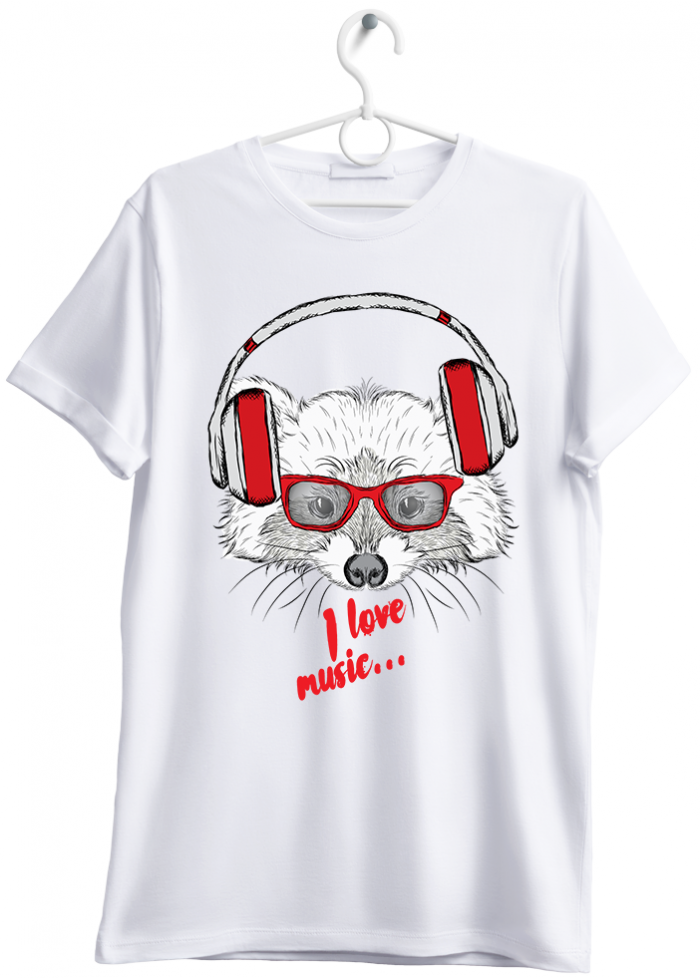 "T-shirt uomo ""I love music fox"" bianco"