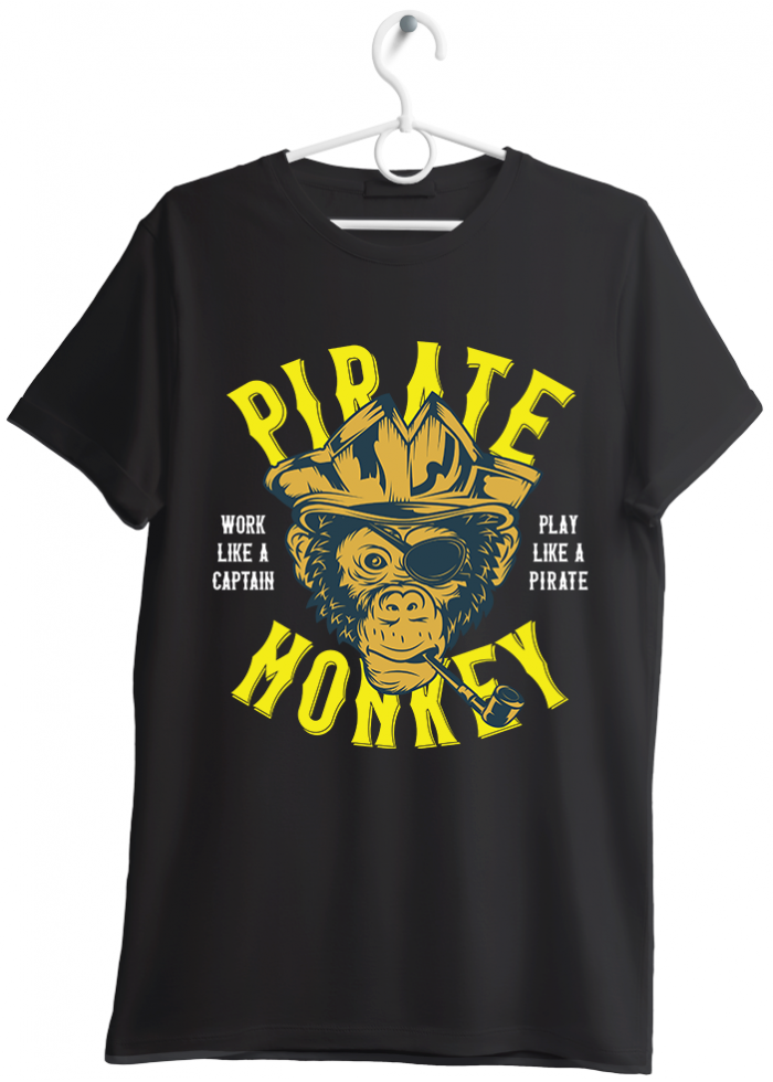 "T-shirt uomo ""pirate monkey"" nero"